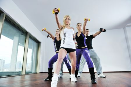 young healthy people group exercise fitness and get fit Stock Photo - 6403338