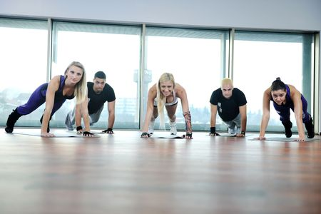 young healthy people group exercise fitness and get fit Stock Photo - 6454994