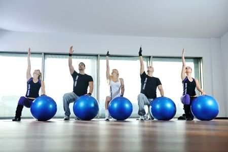 young healthy people group exercise fitness and get fit Stock Photo - 6403388
