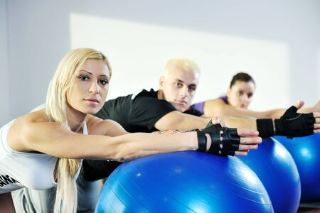 young healthy people group exercise fitness and get fit Stock Photo - 6403337