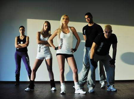 fit: young healthy people group exercise fitness and get fit