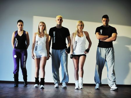 young healthy people group exercise fitness and get fit photo