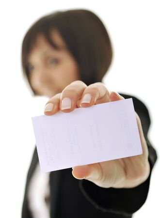 young business woman isolated on white showing and displaying empty business card ready for text Stock Photo - 6515538