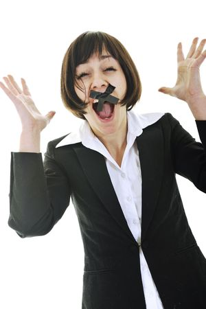 business woman isolated on white with black tape on mouth representing no speech and media  photo