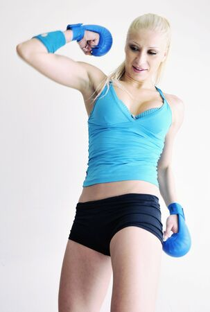 girl punch: boxer woman isolated on white  Stock Photo