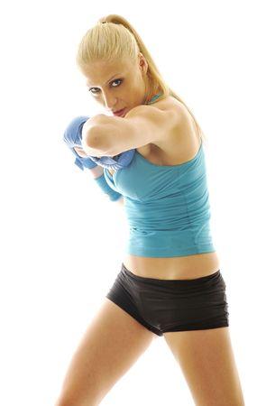 tough: boxer woman isolated on white  Stock Photo