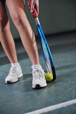 young girl exercise tennis sport indoor photo
