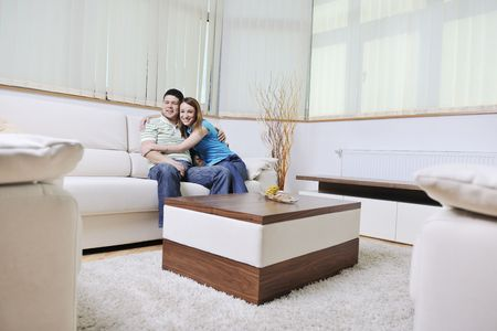 modern life: happy young couple relax at home in modern and bright living room