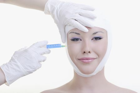 woman skincare and health concept with botox injection photo