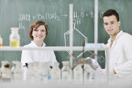 scientific: young students in bright lab