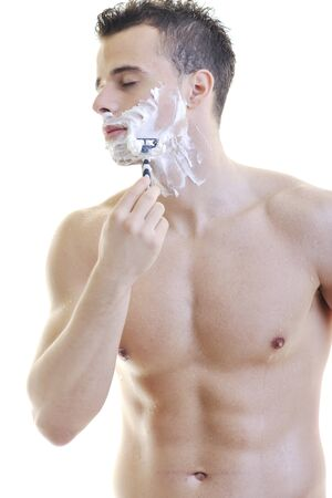 young man shave isolated on white photo