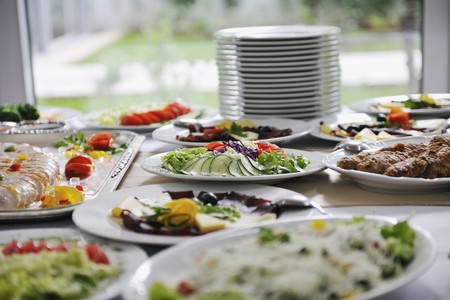 catering food: delicius catering food arrangement on party in restaurant Stock Photo