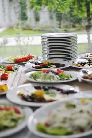 meats: delicius catering food arrangement on party in restaurant Stock Photo