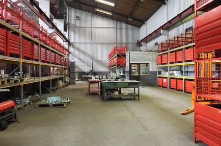 assembly hall: iron works steel and machine parts modern factory indoor hall