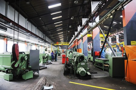 machine part: iron works steel and machine parts modern factory indoor hall