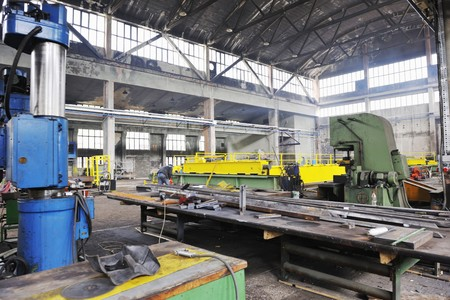iron works: iron works steel and machine parts modern factory indoor hall