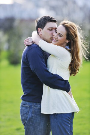 happy young couple have good time and fun outdoor at beautiful sunny day Stock Photo - 7147536