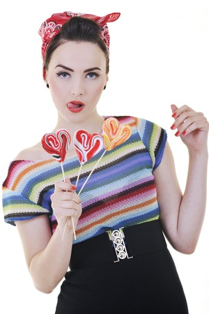 happy young woman with lollipo candy isolated on white  Stock Photo - 7161640