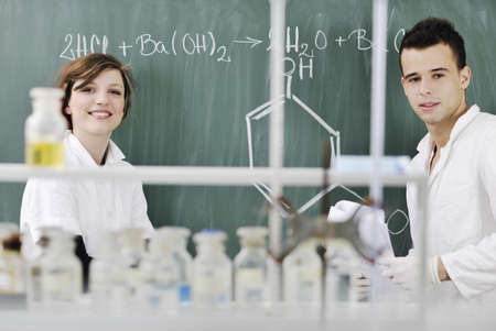 young students couple making test in bright labaratory Stock Photo - 8108031