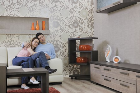 happy young couple relax at home in modern and bright living room Stock Photo - 13340245