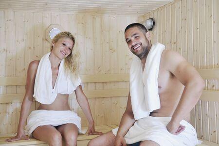 love hot body: finland sauna warming up and healing in a spa wellness resort cabin Stock Photo