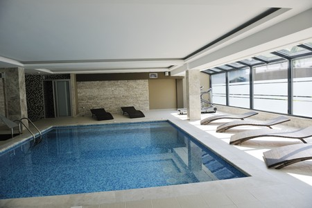 luxuriy swimming pool indoor at wellness and spa center photo