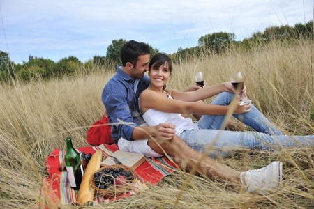 happy young couple enjoying  picnic on the countryside in the field  and have good time Stock Photo - 8239142
