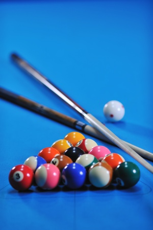 billiard sport game balls on blue table on billiard club ready to play Stock Photo - 8245503