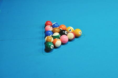 billiard sport game balls on blue table on billiard club ready to play Stock Photo - 8248674
