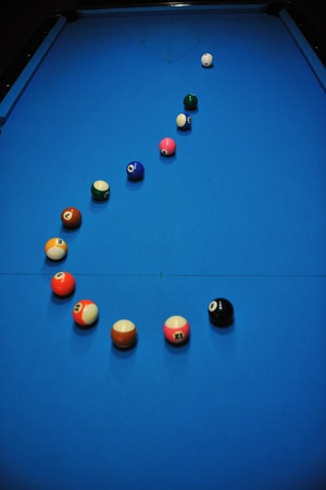 billiard sport game balls on blue table on billiard club ready to play Stock Photo - 8246682