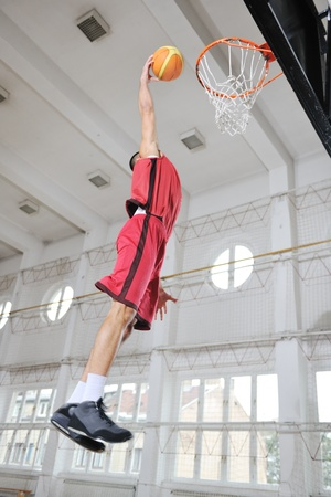 young and healthy people man have recreation and training exercise  while play basketball game at sport gym indoor hall Stock Photo - 8311004