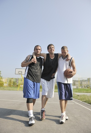 sportsmanship: basketball player have foot trauma strech and injury at outdoor  streetbal court Stock Photo