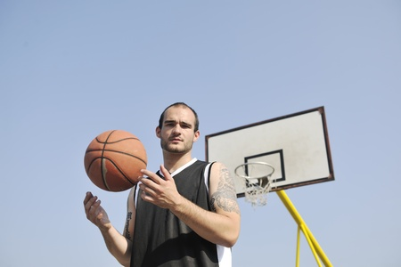 basketball player practicing and posing for basketball and sports athlete concept Stock Photo - 8310757