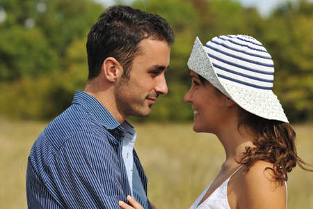happy young couple have romantic time outdoor while smiling and hug Stock Photo - 8327807