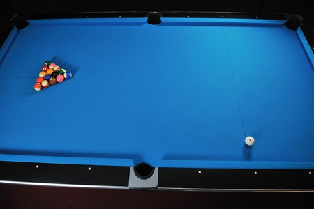billiard sport game balls on blue table on billiard club ready to play Stock Photo - 8327543