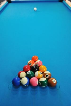 billiard sport game balls on blue table on billiard club ready to play photo