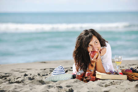 happy young woman relax onbeautiful  beach at morning Stock Photo - 8327311