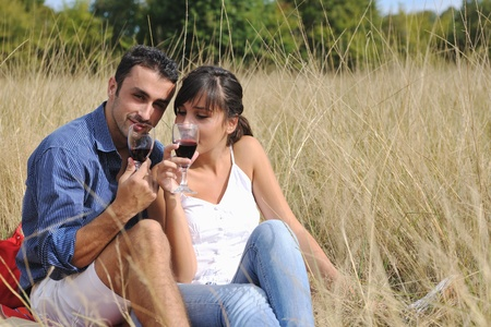 happy young couple enjoying  picnic on the countryside in the field  and have good time photo