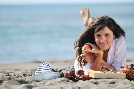 happy young woman relax onbeautiful  beach at morning Stock Photo - 8313782