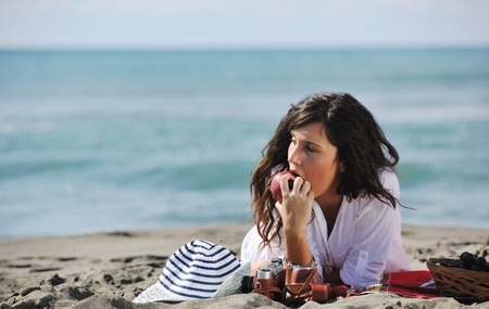 happy young woman relax onbeautiful  beach at morning Stock Photo - 8326483