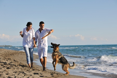 holiday pets: happy young family in white clothing have fun and play with beautiful dog at vacations on beautiful beach  Stock Photo