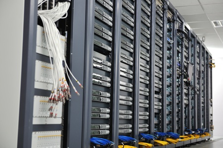 internet network server room with computers racks and digital receiver for digital tv Stock Photo - 8437184