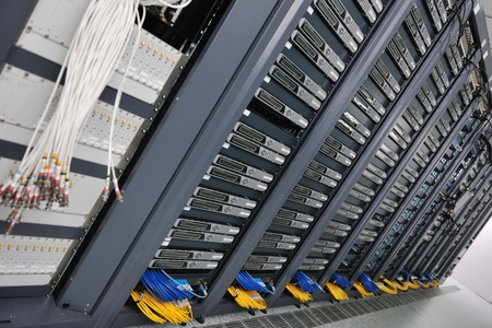 internet network server room with computers racks and digital receiver for digital tv Stock Photo - 8437177