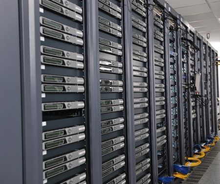 computer centre: internet network server room with computers racks and digital receiver for digital tv Stock Photo