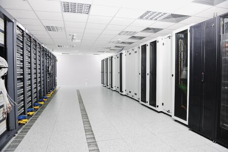 server farm: internet network server room with computers racks and digital receiver for digital tv Stock Photo