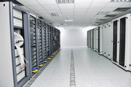 hosts: internet network server room with computers racks and digital receiver for digital tv Stock Photo