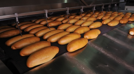 bread bakery food factory production with fresh products photo