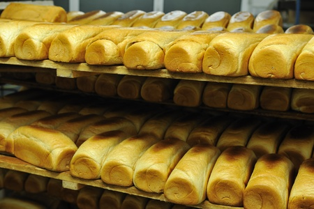food staple: bread bakery food factory production with fresh products Stock Photo
