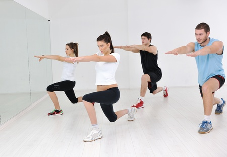 happy young people group in excercise and relax in  fitness club Stock Photo - 8750684