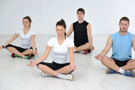 happy young people group in excercise and relax in  fitness club photo